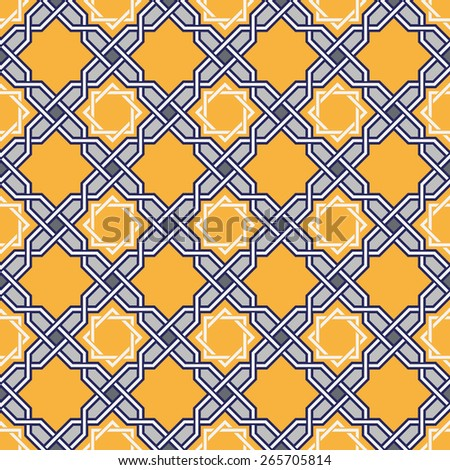 Traditional arabic tangled pattern. Islam pattern. Seamless background. Raster version. - stock photo