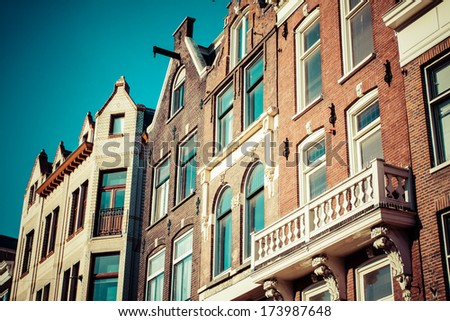Traditional architecture in Amsterdam, the Netherlands. - stock photo