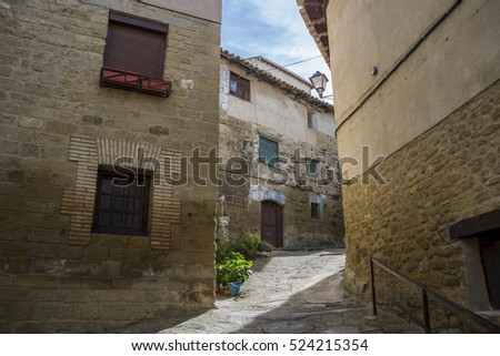 Traditional architecture in Uncastillo. It is a historic town and municipality in the province of Zaragoza, Aragon, eastern Spain. In 1966 it was declared a Historic-Artistic site
