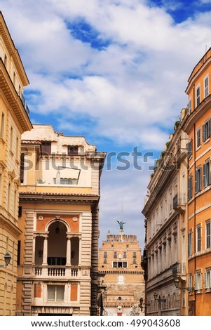 Traditional architecture near Ponte Sant'Angelo in Rome, Italy