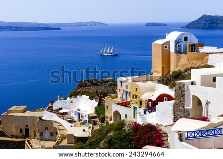 Traditional architecture on Santorini island, Greece - stock photo