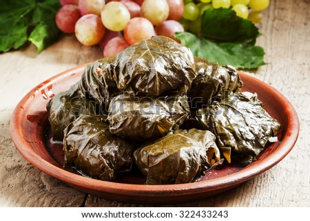 Traditional Armenian dolma (tolma) - stuffed with meat in grape leaves, selective focus