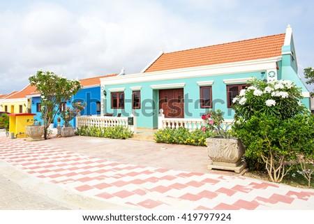 Traditional arubean house on Aruba island in the Caribbean - stock photo