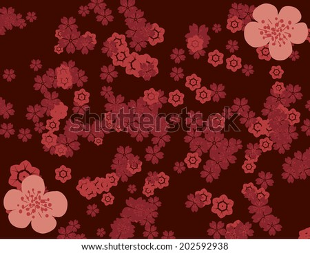 Traditional Asian cherry blossom pattern wallpaper