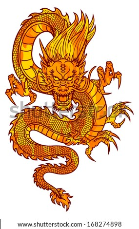 Traditional Asian Dragon. This is illustration ideal for a mascot and tattoo or T-shirt graphic. Raster version, EPS file also included in the portfolio. - stock photo