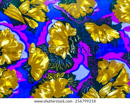 Traditional asian flower pattern on colorful background - stock photo