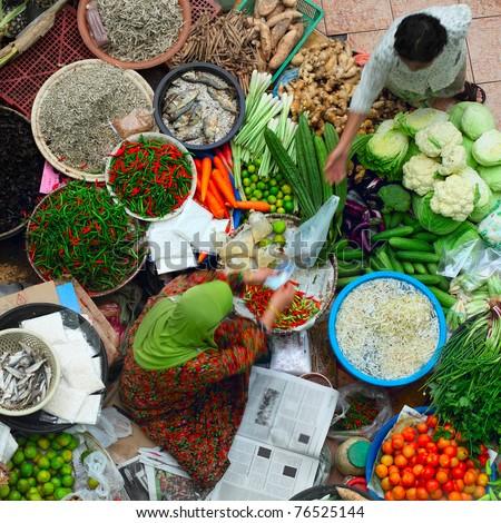 Traditional asian market. Malaysia Pasar siti khadijah - stock photo