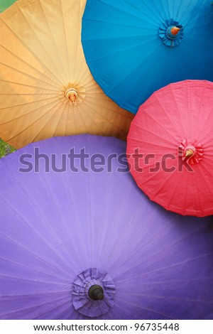 Traditional Asian paper umbrellas - stock photo