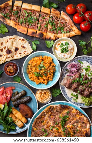 Traditional assorted turkish dishes. Turkish pizza meat kebab pita bulgur fried & Traditional Assorted Turkish Dishes Turkish Pizza Stock Photo (Safe ...