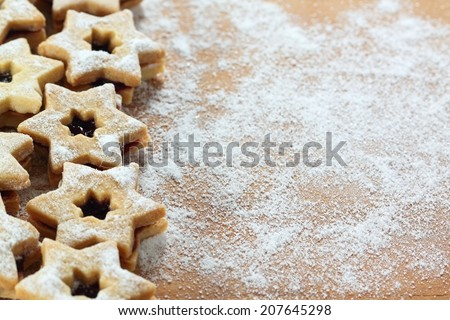 Traditional Austrian Linzer cookies in a shape of star - stock photo