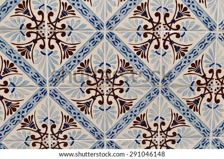 Traditional azulejo tile, Lisbon, Portugal - stock photo