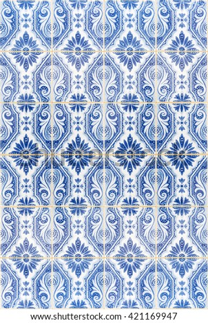 Traditional azulejos tiles on facade of old house, Algarve, Portugal