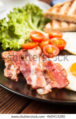 Traditional bacon and eggs breakfast on a plate