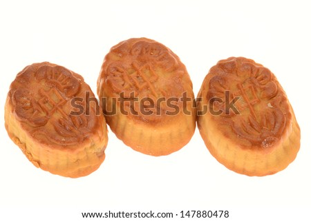 Traditional  Baked Moon Cakes Isolated On White Background