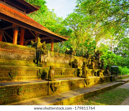 Traditional balinese architecture. Bali island, Indonesia. - stock photo