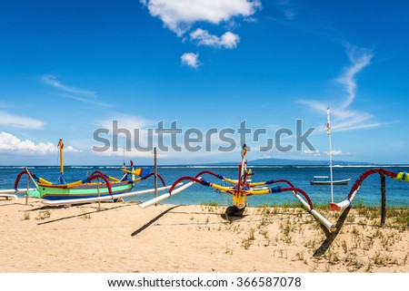 Traditional balinese jukung fishing boats on Sanur beach, Bali, Indonesia, Asia