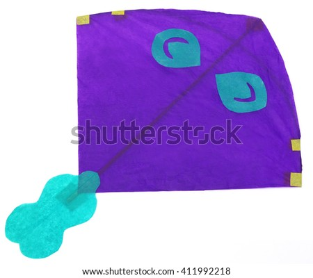 Traditional Bangladeshi kite made of thin papers over white background - stock photo