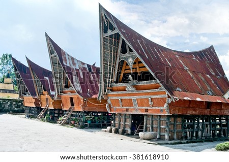 Traditional Batak house on the Samosir island, North Sumatra, Indonesia
