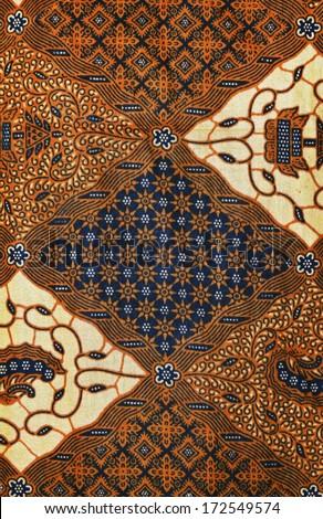 Traditional Batik Sarong Pattern Background in digital painting  - stock photo