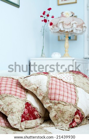 Traditional bedroom with floral bedding