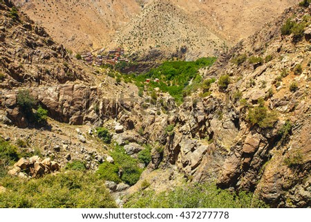 Traditional berber village in Atlas Mountain, Morocco, north Africa - stock photo