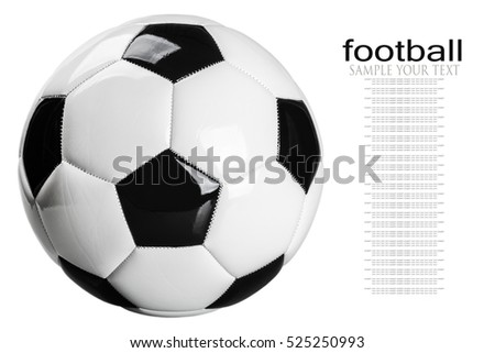 traditional black and white football isolated on white background. delete text