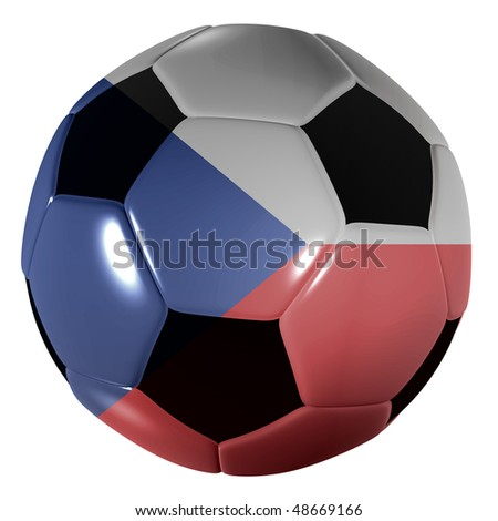 Traditional black and white soccer ball or football czech republic