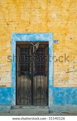Traditional Black Mourning Bow Above Mexican Door