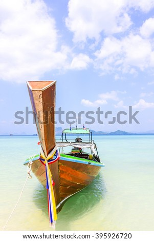 traditional boat on tropical beach - Koh Kradan, Trang, Thailand