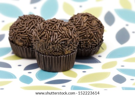 Traditional Brazilian Brigadeiro on Colorful background