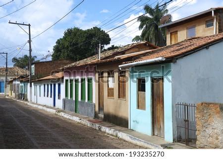 Traditional Brazilian Portuguese colonial architecture in Nordeste Bahia Brazil - stock photo
