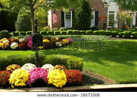 Traditional brick colonial dressed up for fall with colorful mums - stock photo