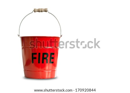Traditional bright red metal fire bucket isolated against a plain white background