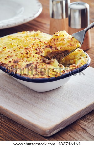 Traditional british handmade cottage pie in a country style