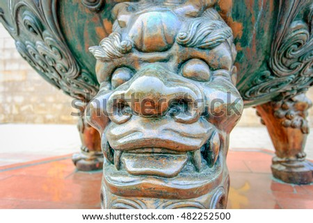 Traditional bronze incense burner pot in Lingshan Grand Buddha Scenic Area, Wuxi, China