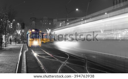 Traditional Budapest Old Tram In The city Center of Budapest, Black And White - stock photo