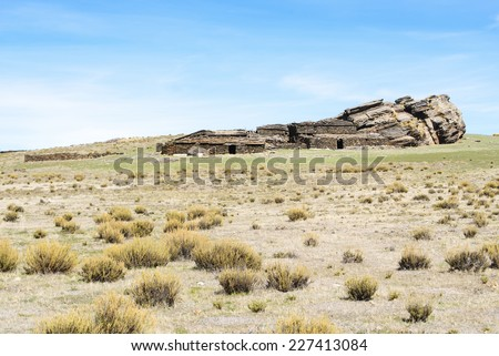traditional building abandoned in Sierra de Baza, Granada - stock photo