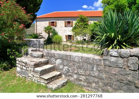 Traditional building of an orthodox church from Mediterranean area, Montenegro - stock photo