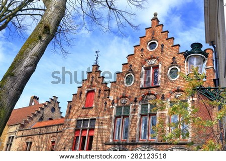 Traditional buildings with Gothic facades in Bruges, Belgium