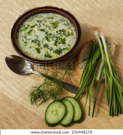 Traditional Bulgarian food - tarator - cucumbers, dill, yogurt and garlic soup - stock photo