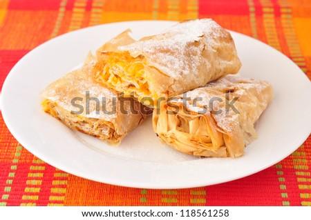 Traditional Bulgarian pumpkin roll - tikvenik - stock photo
