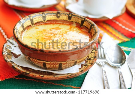 "Traditional Bulgarian soup ""Shkembe chorba"" - stock photo"