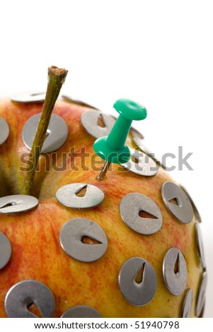 Traditional business concept.  drawing pin and apple
