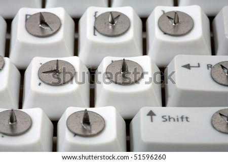 Traditional business concept.  drawing pin and keyboard
