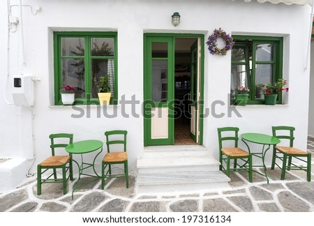 Traditional Cafe At Paros - stock photo