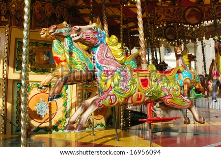 Traditional carousel, York, UK - stock photo
