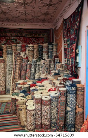 traditional carpet shop in tunisia