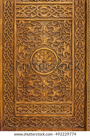 Traditional carved wood door