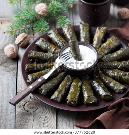 Traditional Caucasian dishes (Dolma), stuffed grape leaves with meat, selective focus - stock photo