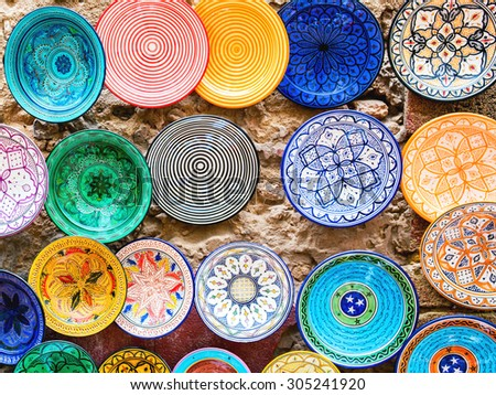 Traditional ceramic pottery in Essaouira, Morocco - stock photo